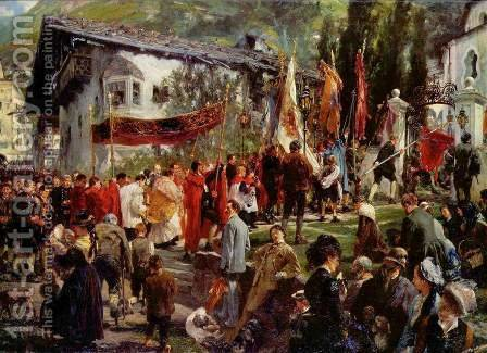 Corpus Christi procession in Hofgastein by Adolph von Menzel - Reproduction Oil Painting