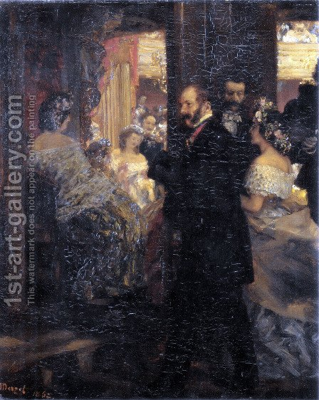 In the opera house by Adolph von Menzel - Reproduction Oil Painting