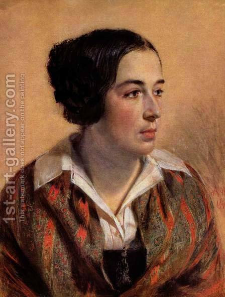 Portrait of Caroline Arnold by Adolph von Menzel - Reproduction Oil Painting