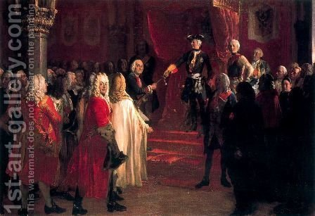 The Allegiance of the Silesian Diet before Frederick II in Breslau by Adolph von Menzel - Reproduction Oil Painting