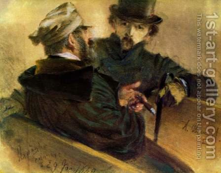 Two discussing voters by Adolph von Menzel - Reproduction Oil Painting