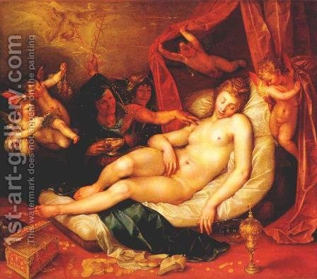 Danae and Zeus as a rain of gold by Hendrick Goltzius - Reproduction Oil Painting