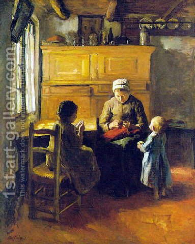 The sewing lesson by Albert Neuhuys - Reproduction Oil Painting