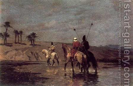Arabic riders crossing a river by Alberto Pasini - Reproduction Oil Painting
