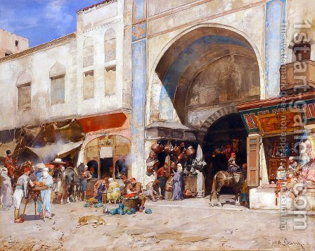 At the entrance to the Market by Alberto Pasini - Reproduction Oil Painting