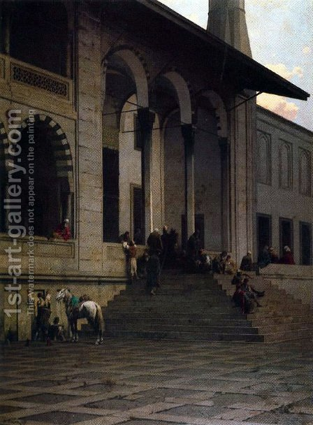 Door of the mosque of Yeni-Djami in Constantinople by Alberto Pasini - Reproduction Oil Painting