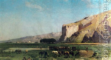 Pasture on the road from Teheran to Tabriz by Alberto Pasini - Reproduction Oil Painting