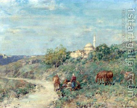 The Halt by Alberto Pasini - Reproduction Oil Painting