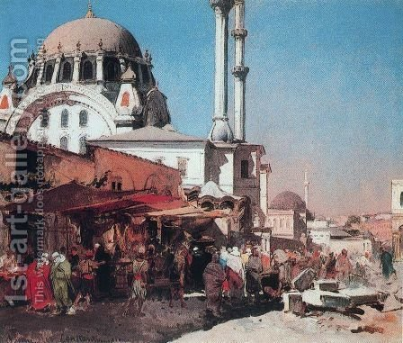 The Mosque of Mahmoudi by Alberto Pasini - Reproduction Oil Painting