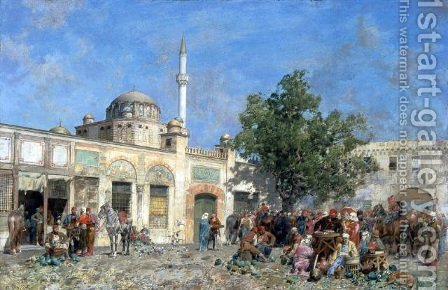 The market of Constantinople by Alberto Pasini - Reproduction Oil Painting