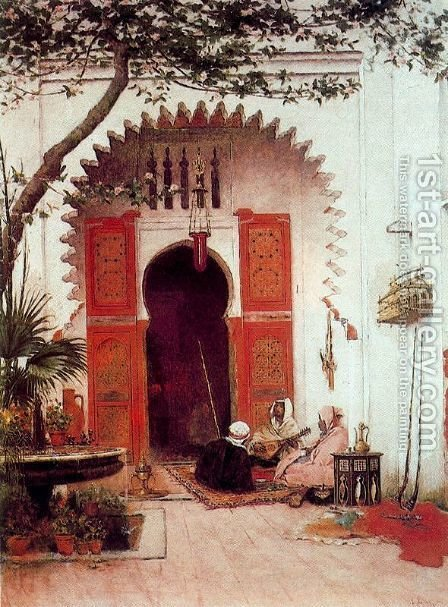 Three Arabs in a court by Alberto Pasini - Reproduction Oil Painting