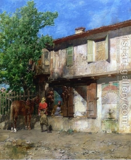 Visiting the Pottery Vendor by Alberto Pasini - Reproduction Oil Painting