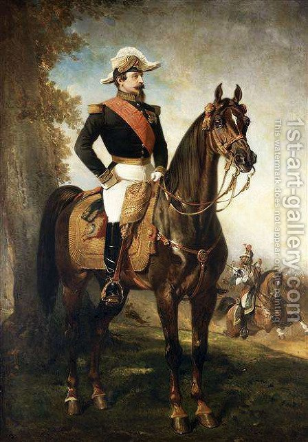 Equestrian Portrait of Napoleon III by Alfred Dedreux - Reproduction Oil Painting