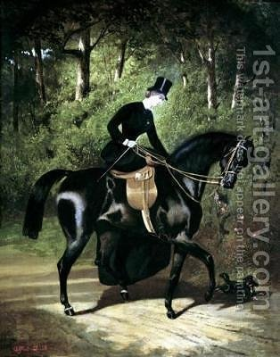 The Rider Kipler on her Black Mare by Alfred Dedreux - Reproduction Oil Painting