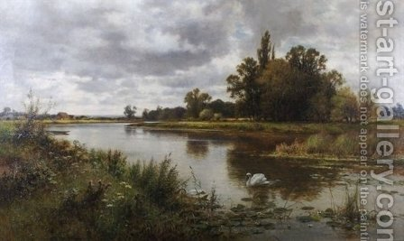 The Thames near Laleham Ferry by Alfred Glendening - Reproduction Oil Painting