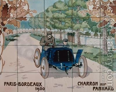 Ernest Montaut: Charron driving a Panhard car in the Paris to Bordeaux race of 1900 - reproduction oil painting