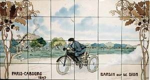 Bardin riding a De Dion motor tricycle in the Paris to Cabourg race of 1897