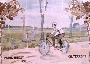 Famous paintings of Bicycling: Charles Terront competing in the first ever long-distance cycle race in 1891