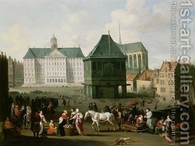 Market Scene before the Dam Palace Amsterdam by Hendrik Mommers - Reproduction Oil Painting