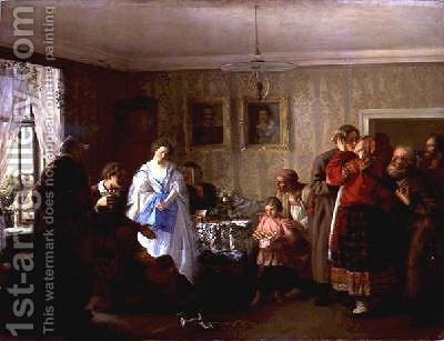 Congratulating the NewlyWeds at the Landowners House 1861 by Grigori Grigorievich Mjasoedov - Reproduction Oil Painting