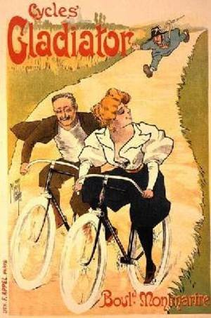 Famous paintings of Bicycling: Reproduction of a poster advertising Gladiator Cycles Boulevard Montmartre