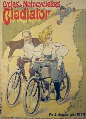 Famous paintings of Bicycling: Poster advertising Gladiator bicycles and motorcycles