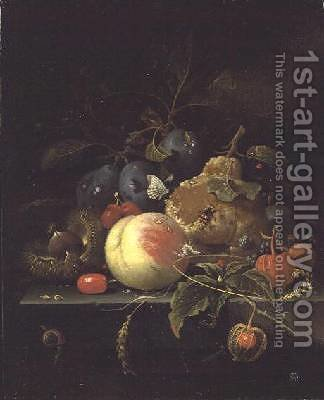 Still Life of Fruit and Nuts on a Stone Ledge by Abraham Mignon - Reproduction Oil Painting