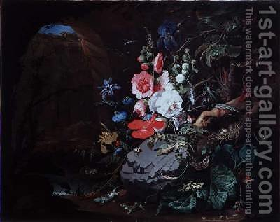 Flowers and birds in a cave by Abraham Mignon - Reproduction Oil Painting