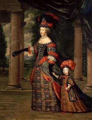 Maria Theresa 1638-83 wife of Louis XIV with her son the Dauphin Louis of France 1661-1711 after 1661