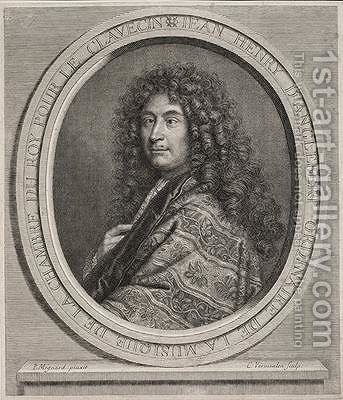 Jean-Henri DAnglebert 1635-91 engraved by Cornelius Vermeulen 1642-92 by (after) Mignard, Paul - Reproduction Oil Painting