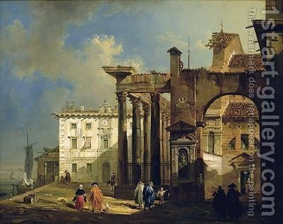 The Portico of the Church of San Lorenzo in Milan 1814 by Giovanni Migliara - Reproduction Oil Painting