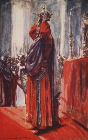 He reached the altar where the crown lay lifting it he placed it upon his head illustration from A History of Germany