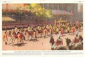 Our Crowned and Consecrated King and Queen in the State Coach During the Coronation Procession on 12th May 1937 from The Sketch 19th May 1937