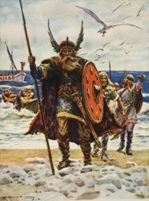 The Landing of the Vikings illustration from This Country of Ours The Story of the United States