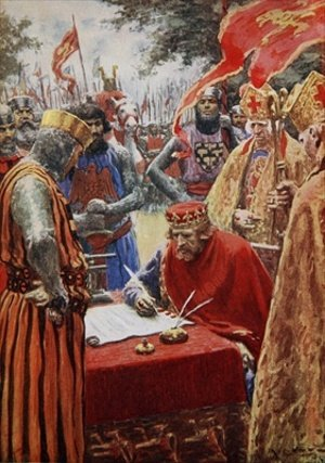 King John signing the Magna Carta reluctantly