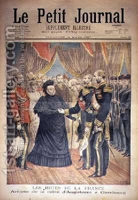 The French Hosts the Arrival of the Queen of England at Cherbourg front cover of Le Petit Journal 14 March 1897 by Henri Meyer - Reproduction Oil Painting