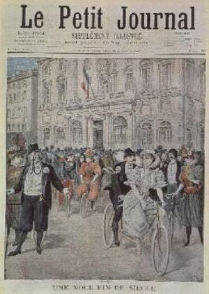 Famous paintings of Bicycling: A Wedding on a Bicycle front cover illustration from Le Petit Journal 5th March 1897