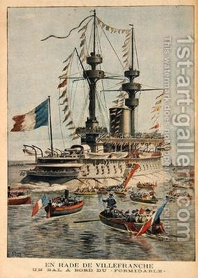 Villefranche Harbour a ball on board the Formidable illustration from Le Petit Journal by Henri Meyer - Reproduction Oil Painting