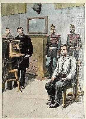 Professor Bertillon photographing Georges Henri Sautton, murderer of Louis Martin at Choisy-le-Roi illustration from Le Petit Journal May 1899 by (after) Meyer, Hans - Reproduction Oil Painting