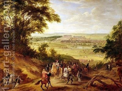 View of the Chateau de Versailles from the Heights of Satory 1664 by Adam Frans van der Meulen - Reproduction Oil Painting
