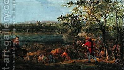 The Arrival of the Pontoneers for the Crossing of the Rhine late 17th century by Adam Frans van der Meulen - Reproduction Oil Painting