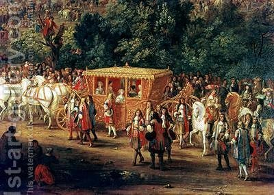 The Entry of Louis XIV 1638-1715 and Maria Theresa 1638-83 into Arras 30th July 1667 by Adam Frans van der Meulen - Reproduction Oil Painting