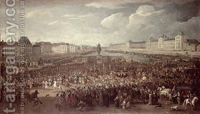 The Procession of Louis XIV 1638-1715 across the Pont Neuf by Adam Frans van der Meulen - Reproduction Oil Painting