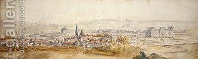 Distant view of a town with a chateau on the right by Adam Frans van der Meulen - Reproduction Oil Painting