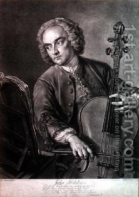 Portrait of John Hebden fl.1740-60 a cellist in Handels orchestra by (after) Mercier, Philippe - Reproduction Oil Painting