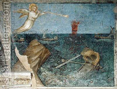 The Second Angel of the Apocalypse Creating a Storm 1360-70 by Giusto di Giovanni de' Menabuoi - Reproduction Oil Painting