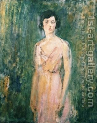 Lady in a Pink Dress 1927 by Ambrose McEvoy - Reproduction Oil Painting