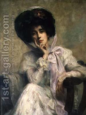The Edwardian Hat by Ambrose McEvoy - Reproduction Oil Painting