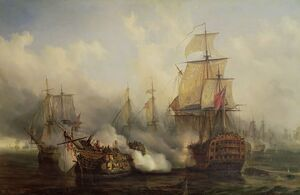 Famous paintings of Ships & Boats: The Redoutable at Trafalgar 21st October 1805