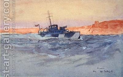 Sunrise Motor Launch off Gallipoli Italy illustration from The Naval Front by Gordon S Maxwell 1920 by (after) Maxwell, Donald - Reproduction Oil Painting